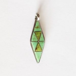 Jewelry - Zuni Turquoise Inlay Pendant Sterling Turquoise Pe